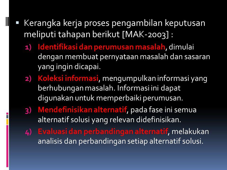 Kerangka kerja proses pengambilan keputusan meliputi tahapan berikut [MAK-2003] :